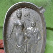 "Humorous 1920's Speakeasy Couple Riskay ""Oh!"" Metal Ashtray"