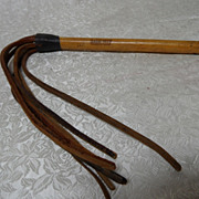 Vintage 1937 Leather Wooden Handle Whip~Horse, Bull, Polo
