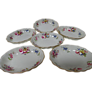 6 Hammersley Pattern 3013 Floral Scalloped Fruit Dessert Dishes