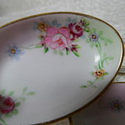 3 Lovely NIppon Hand Painted Floral Rose Salt Dishes