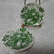 "2 Mason's English Ironstone ""Fruit Basket"" Butter Pats"