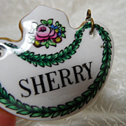 SALE Crown Staffordshire English Bone China &quot;Sherry&quot; Liquor Label~Rarer Laurel Leaf 