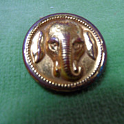 Vintage Brass Elephant Head High Relief Gold Button