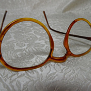 Vintage 1930's Rounded Tortoise Shell Eye Glasses
