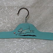 Adorable Vintage Painted Child's/Doll Wooden Clothes Hanger with Doggie