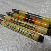4 1930's Bullet Pencils-Live Stock Yards Kansas City/Wichita