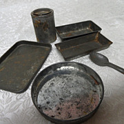 Old Tin Toy Baking Pans, Tin Ice Cream Spoon, Miniature Tin Can