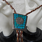 Sterling Silver & Turquoise Inlay Insignia Symbol Bolo Tie