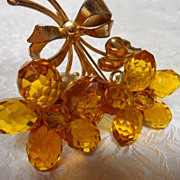 Fabulous Sterling Vermeil 1940's/1950's Huge Brooch with Faceted Topaz Flowers
