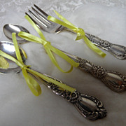 Vintage Silverplate Baby Utensil Set by 1847 Rogers Bros. with Infant Spoon, Baby Spoon & Fork