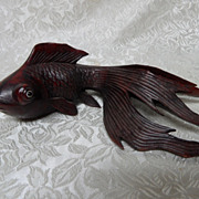 Vintage Rosewood Carved Oriental Glass Eyed Koi Fish