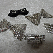 2 Pair & a Single Vintage Shoe Clips~Deco Style Rhinestone & Metal Mesh Bows