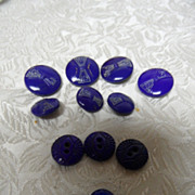 Fab 1920's Art Deco Cobalt Blue Glass Buttons