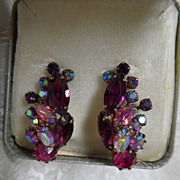 1950's Weiss Purple & Fuchsia Rhinestone Navette Earrings in Weiss Box