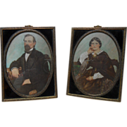 Fabulous Opalotype Hand Painted Antebellum Portraits of Couple Original Frames