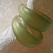 Large Translucent Green Hoop Bakelite Earrings