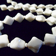 Diamond Shape White Milk Glass Bead Necklace