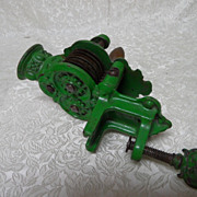Antique German Circa 1900 Cast Iron Green Paint Green Bean Cutter Slicer