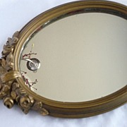 Elegant Vintage Gold Guild Dresser or Accent Mirror~Lovely Applied Roses
