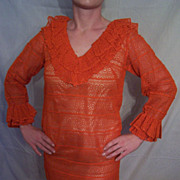 1960's ReTRo  MOd Bright Orange Lace Dress by Designer Castillo