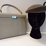 "1950's Designer ""Henry Green's"" Handbag with  Wool Pillbox Hat"