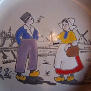 Children's Vintage Enamel/Granite Ware Dutch Scene Plate~Germany