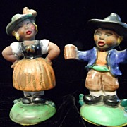 REDUCED 1930's Czecho-Slovakia Pottery Man & Women Figurines~RARE