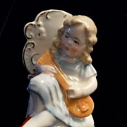 Germany Porcelain Renaissance Boy with Guitar Figurine