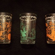 3 1960's Flintstone Juice Glasses~Hanna-Barbera