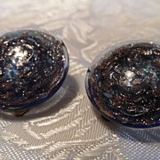 "Vintage Italian Venetian Glass 1"" Button Disk Earrings~Copper~Plum"