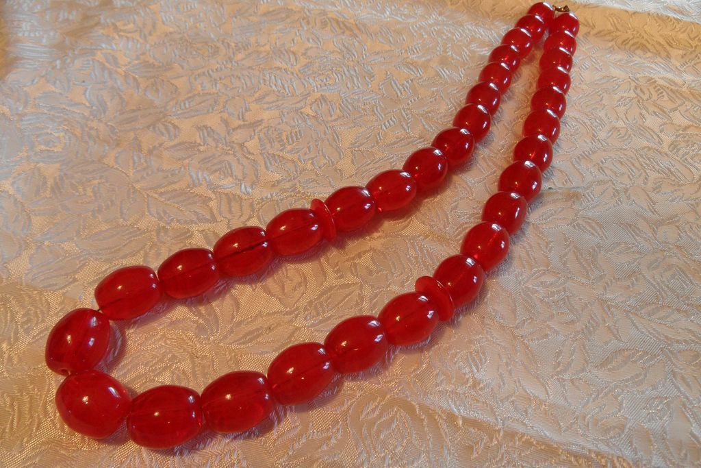 Vintage Cherry Red  Huge Beads Glass Necklace