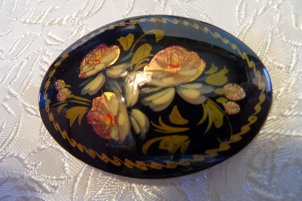 Vintage Hand Painted Lacquered Signed Russian Floral Brooch