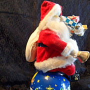 "SALE 50 % OFF RARE 1950's Large Tin 14"" Santa on Globe/World Battery Op Toy, Japan"