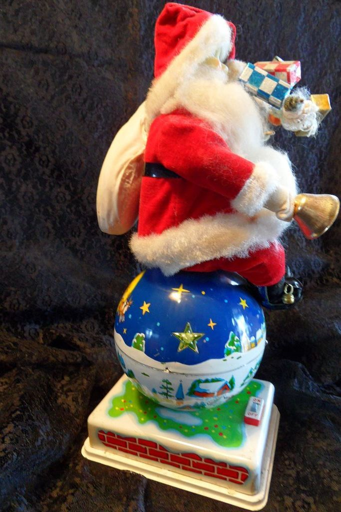 "50 % OFF RARE 1950's Large Tin 14"" Santa on Globe/World Battery Op Toy, Japan"