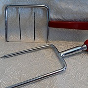 Red Bakelite Unique Meat Holder Carving Tool & Cheese Slicer