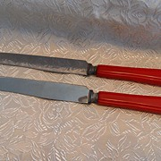 REDUCED 2 Vintage Bakelite Flatware Table Knives~Cherry Red Color