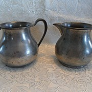 REDUCED Colonial Style Pewter Sugar and Cream Pitcher Set