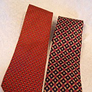 "2~4"" Wide ""HC & Co."" Neckties~Reds & Navy Blue"