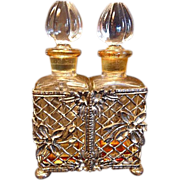 Lovely Mid-Century Filigree Perfume Double Perfume Caddy with Dauber Crystal Bottles