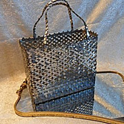 Vintage Mexican Tin Lattice Woven Handbag or Basket