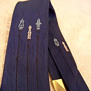 Skinny  Vintage New Navy Blue Rhodia Necktie, France