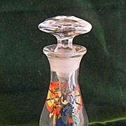 Vintage Glass Perfume Dauber Bottle with Painting