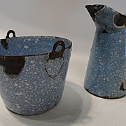 TOY Rare Graniteware German Blue Speckle  Small  Pitcher & Pale