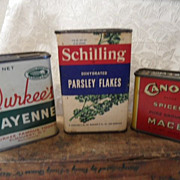 3 Vintage  Spice Tins & Paper Tins~Rare Canova, Durkee's, & Schilling