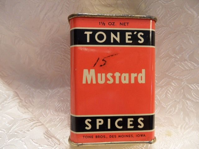 Vintage Art Deco Tone's Mustard Spice Tin~Orange & Black