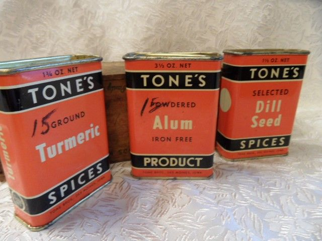 3 Vintage TONE'S Spice Tins~Orange and Black Deco