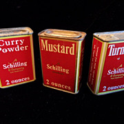 3 Vintage 1933 Schilling Spice Tins~Turmeric, Mustard, Curry Powder