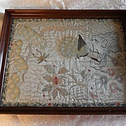 Exquisite Vintage Oriental Silk Embroidery Tapestry in Framed Glass Serving Tray