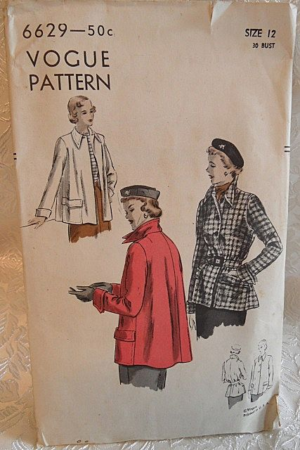 1949 VOGUE Ladies Flare-back Coat Pattern Size 12