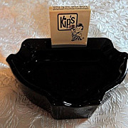 Vintage Black Glass Ashtray with Kip's Big Boy Matchbook